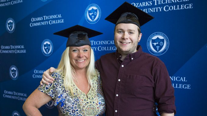 Mom And Son Receive Degrees Side-by-side