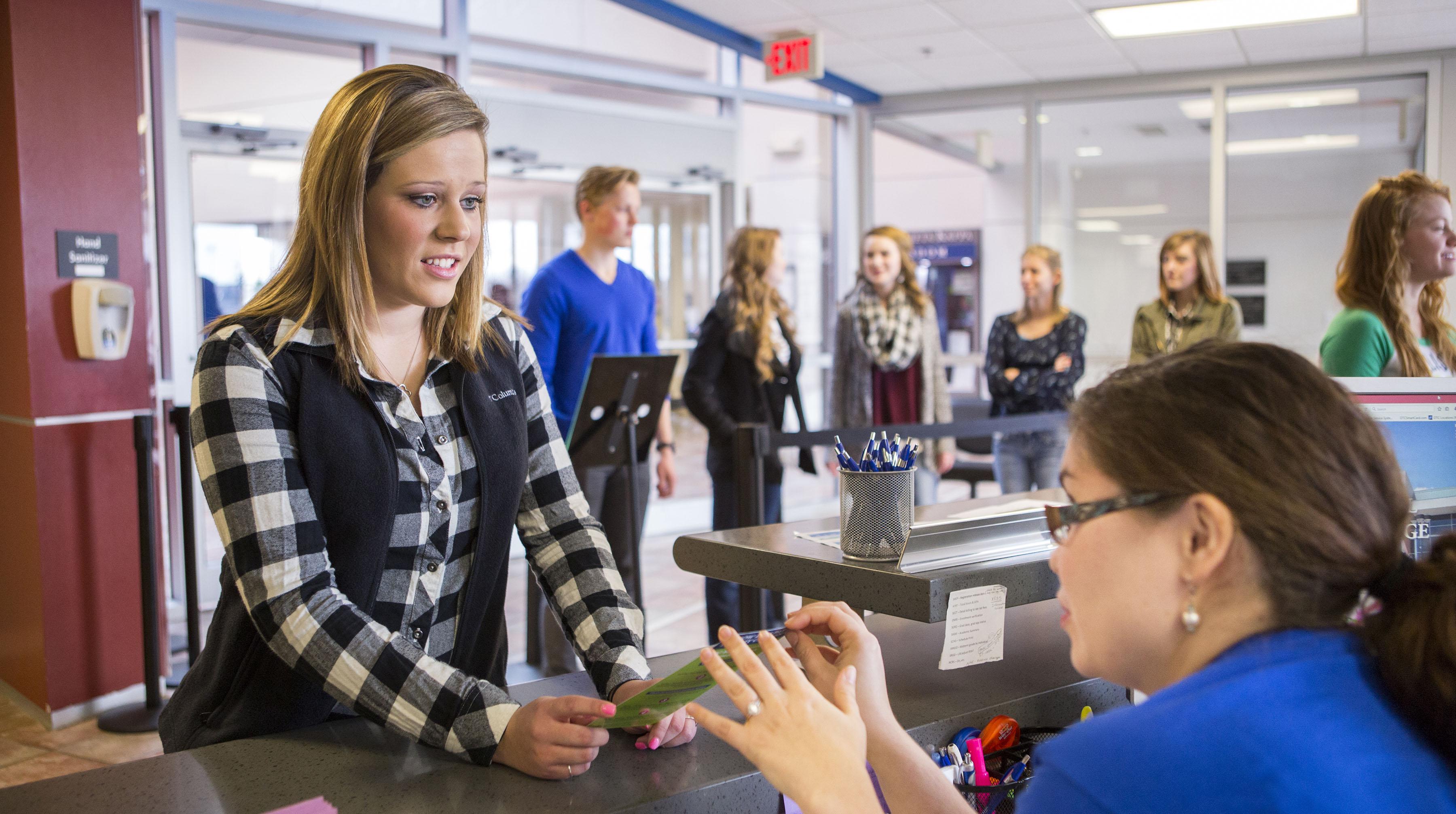 OTC student registering for classes